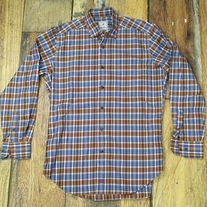 Orange and Blue Plaid Size Medium Dress Shirt